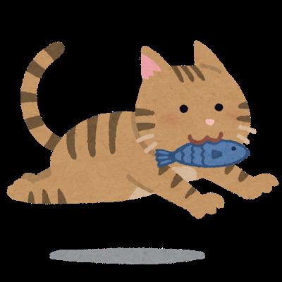 魚をくわえて逃げる猫