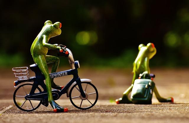 どこかへ行くカエル